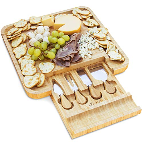 Antigua Lux Premium Bamboo Cheese Board and Knife Set  Pure Organic Wooden Charcuterie Board  4Piece Stainless Steel Cutlery in SlideOut Drawer  Serving Tray for Cheese Wine Crackers and Meat