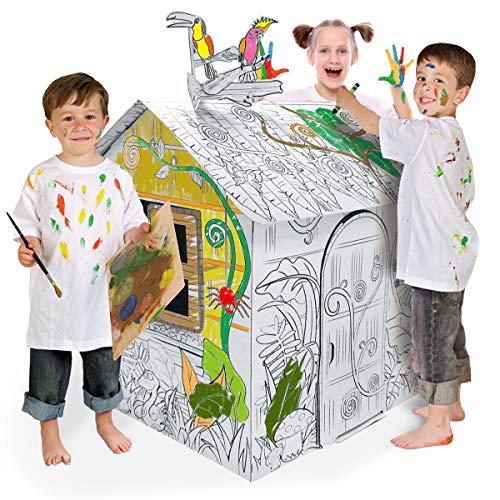 Ricco Kinder-Spielhaus aus 3D-Karton, zum Basteln und Ausmalen und Spielen (kleines Dschungelhaus)