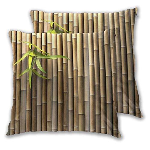 WINCAN Juego de 2 Decorativo Funda de Cojín Zen Primavera Naturaleza Bambú Elegante Bronceado Funda de Almohada Cuadrado para Sofá Cama Decoración para Hogar,45x45cm