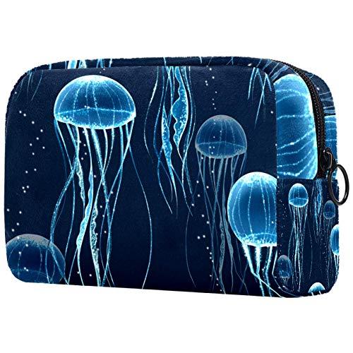 Bolsa organizadora de cosméticos para mujer con cremallera de 19 x 8 x 12 cm, medusas brillantes