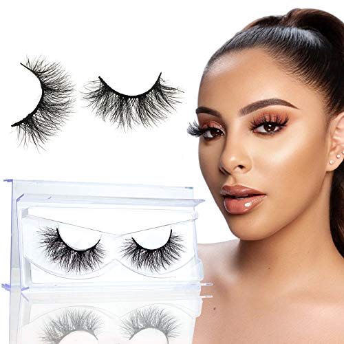GOO GOO Mink Eyelashes 16mm Natural Mink Lashes 3D Layered Effect Siberian Fake Eyelashes Hand Made Strips Real Eye Lashes Reusable False Lashes for Women 1 Pair