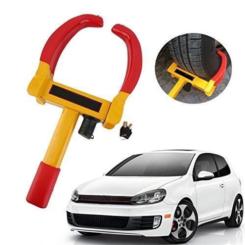 KinshopS Ganascia universale bloccaruota antifurto per autoveicoli, con lucchetto di sicurezza