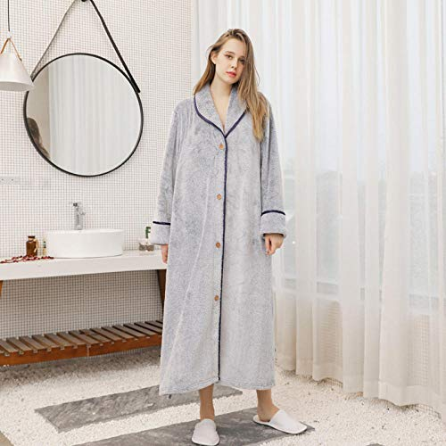 ASADVE Pijamas de otoño e Invierno Sueltos para Hombres y Mujeres, camisón de Bata cálida con Botones de Rebeca-Mujer Azul Marino Gris_SG