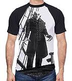 Nosferatu The Vampire Ship Men's All Over Graphic Contrast Baseball T Shirt (Large, White)