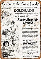 2個 8 x 12 cm メタル サイン - 1910 年ロック アイランド鉄道でコロラド州へ メタルプレート レトロ アメリカン ブリキ 看板