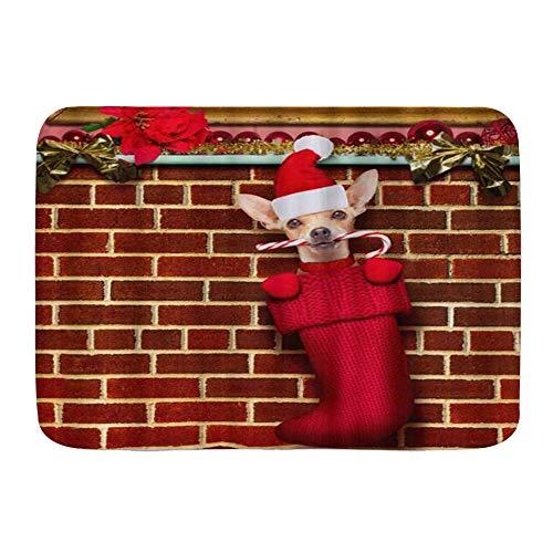 Judascepeda Badematte Bad Teppiche, Chihuahua Hund Weihnachtsstrümpfe Socken Weihnachtsferien hängen an der Wand des Schornsteins,mit Rutschfester Rückseite, 29,5