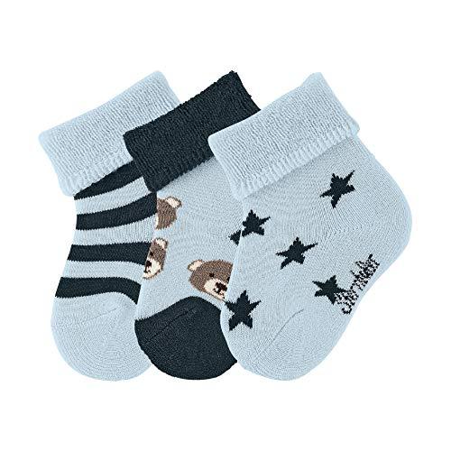 Sterntaler Baby - Jungen Baby- 3er-pack  Socken Bären,  Blau (Bleu 313), 16