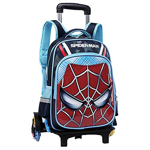 GJZhuan Enfants Spiderman Sac À Dos roulettes Super-Héros Tirer La Main Tige Garçons Filles Trolley Cas Amovible Cartable Étudiant en Plein Air Pique-Nique,6 wheels-44 * 33 * 22cm