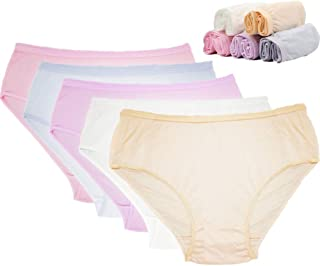 STARLY Women's Disposable 100% Pure Cotton Underwear Travel Panties High Cut Briefs White/Macarons (10Pk)