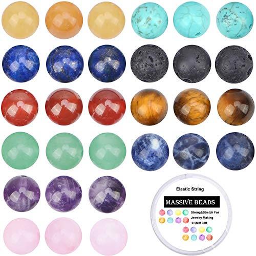100Pcs Natural Crystal Beads Stone Gemstone Round Loose Energy Healing Beads...