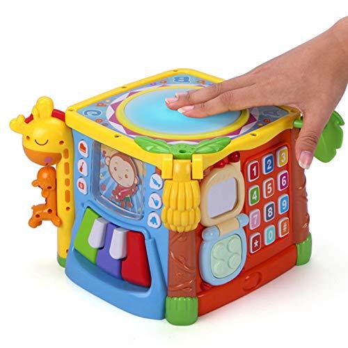 YUY Juguete Musical para Bebés, Tambor de Mano, Clasificador de Formas Educativas Tempranas, Juguetes, Regalo para Bebés, Niños Pequeños, Juguete de Cubo de Actividad Musical para Bebés