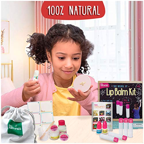 Kiss Naturals Kids Lip Balm Kit for Girls - 100% Organic Lip Balm Making Kit - Make Your Own Crafts for Girls Ages 8-12 - All Natural and Made in North America by