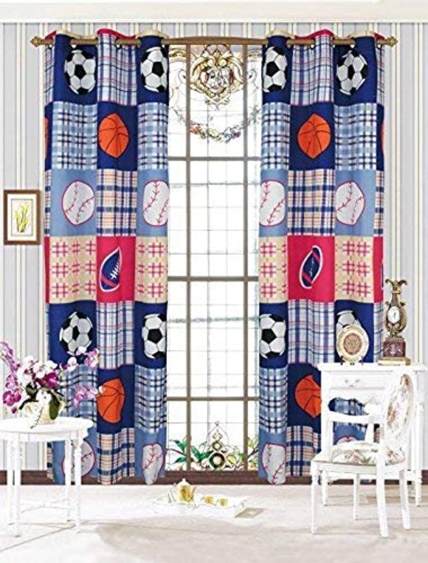 Linen Plus 2 Panel Curtain Set Plaid Sports Basketball Football Soccer Baseball Navy Blue Red Orange New
