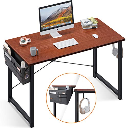 Computer Writing Desk 47 inch, Sturdy Home Office Table, Work Desk with A Storage Bag and Headphone Hook, Teak