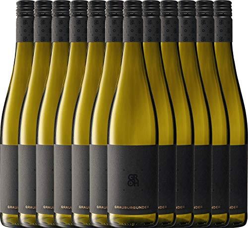 VINELLO 12er Weinpaket Weißwein - Grauburgunder 2020 - Groh mit Weinausgießer | trockener Weißwein | deutscher Sommerwein aus Rheinhessen | 12 x 0,75 Liter