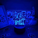 3D noche luz 3D LED noche luz regalo amigo dormitorio manga mesa...