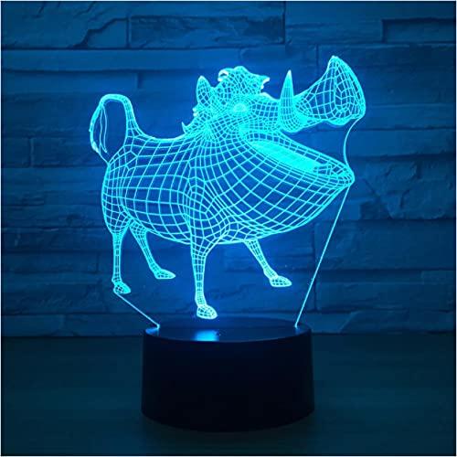 Luz De Noche 3D Jabalí 7 Colores Lámpara 3D Luz De Noche Lámpara De Ilusión Óptica Acrílica Lámpara De Mesa Led Decoración Del Dormitorio Del Hogar