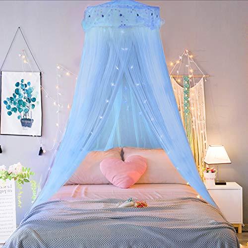 Jeteven Prinzessin Moskitonetz aus Spitze Himmelbett-Moskitonetz Spitzen-Betthimmel für Kinder Fliegen und Insekten-Schutz und Dekoration Höhe 260 cm(Blau)