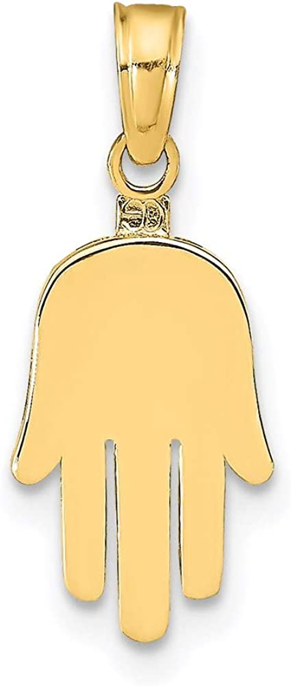 14k Yellow Gold Large Solid Hamsa Pendant Charm Necklace Religious Judaica Fine Jewelry For Women Gifts For Her