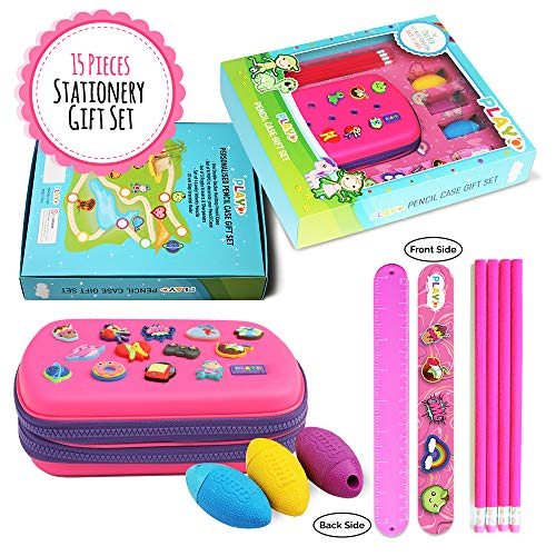 Play-O Pencil Pouch – 15-Piece Pencil Box for Girls – Large Capacity Kids Pencil Case – Includes Sharpener, Eraser, Ruler Slap Bracelets – Ideal Double Zipper School Supplies Organizer Pouch