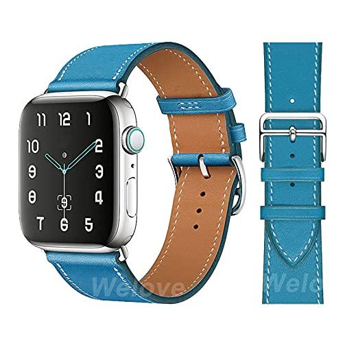 LIANYG Correa De Reloj Puerta DE Reloj DE Cuero DE PU Pulsera de Deporte 42 mm 38 mm Banda de Correa 40mm 44mm 493 (Band Color : Blue, Band Width : For 38mm 40mm)