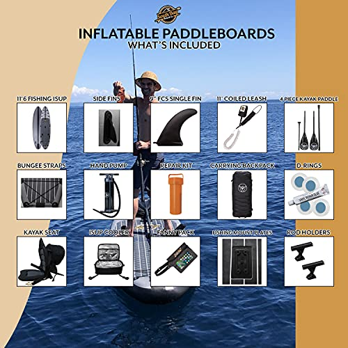 South Bay Board Co. - 11'6 Hippocamp Inflatable Stand Up Paddle Board - Premium ISUP All-In-One Package Includes All The Best Extras - Military Grade PVC Frame, Heat Bonded Rails - Carbon Fiber Option