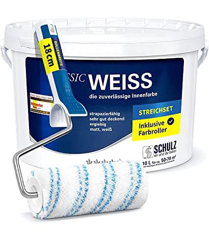 Wandfarbeweiss Innenfarbe mit Premium Farbroller 18cm - hohe Deckkraft 10 Liter versandsicher verpackt Klasse 1