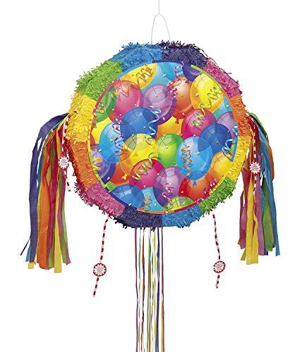 Unique Party - 26841 - Pinata Ballons Brillante avec Ficelle à Tirer
