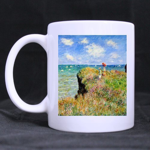 "Kaffeetasse mit Aufschrift ""Sisters Brothers Painting Claude Monet Clifftop Walk"", 313 ml, Weiß"