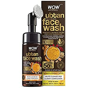 WOW Skin Science Ubtan Foaming Face Wash with Built-In Face Brush for Deep Cleansing - No Parabens, Sulphate, Silicones & Color, 150 mL