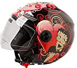 Shiro Casco Moto Jet ECE Homologado casco de moto para hombre casco mujer CASCO SH62 BETTY BOOM NEGRO (M)