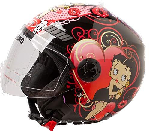 Shiro Casco Moto Jet ECE Homologado casco de moto para hombre casco mujer CASCO SH62 BETTY BOOM NEGRO (S)