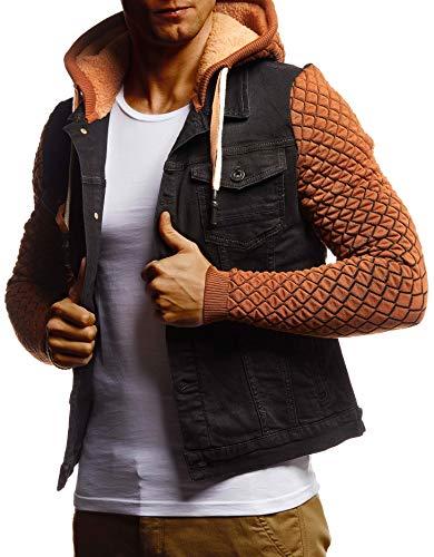 Leif Nelson Herren Jeansjacke Schwarz Braun Jeans Jacke für Männer Freizeitjacke Übergangsjacke mit Kapuze Hoodie Kapuzenjacke verwaschen casual Slim Fit LN9630 LN9630 Schwarz Braun Medium