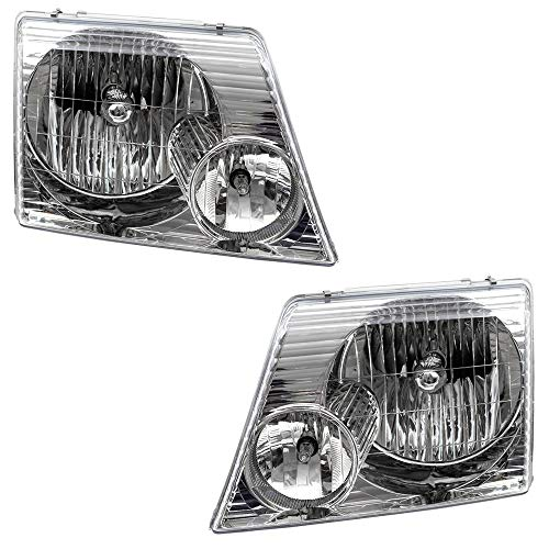 Brock Replacement Driver and Passenger Headlights Headlamps Compatible with 02-05 Explorer SUV 1L2Z13008AB 1L2Z13008AA
