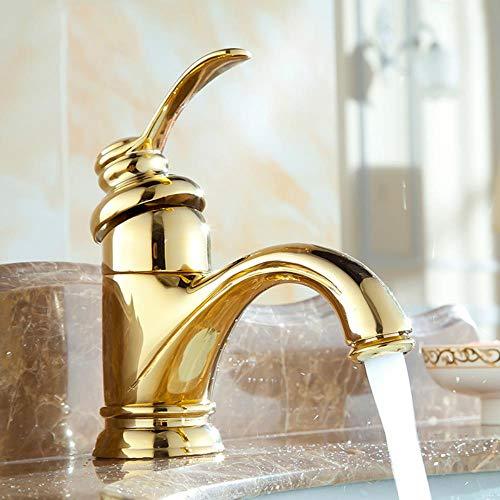 Cuenca Grifos de latón antiguo Grifería de fregadero sola manija caliente fría de lavado de mezclador del golpecito de agua WC Gallo Torneira Banheiro ZLY-6636, Golden