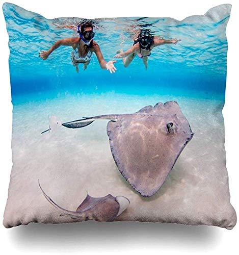 Throw Pillow Cover Life Blue Feeding Stingray City Sandbar Grand Cayman Nature Atlantic Caribbean Southern Alive Design Funda de almohada para el hogar Funda de almohada decorativa cuad 18×18pulgada
