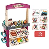 Kids Role Play Ice Cream Shop Toy Set, Children Shopping Toys Playset 55 Pieces Luxury Grocery Store With Scanner and Variety of Ice Cream, Desserts, and Other Ice Cream Product (Purple)