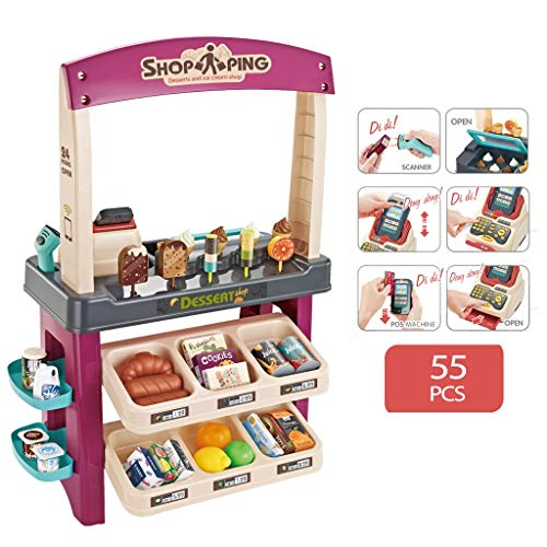【US Fast Shipment】Kids Role Play Ice Cream Shop Toy Set, 55 Pc Grocery Store,Children Shopping Toys Playset with Scanner,Variety of...