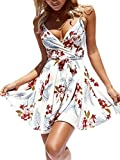 ECOWISH Womens V-Neck Spaghetti Strap Bowknot Backless Sleeveless Lace Mini Swing Skater Dress 594 White X-Large