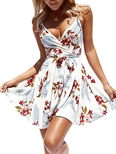 ECOWISH Damen Kleid Sommerkleid V-Ausschnitt Ärmellos Blumendruck Spaghetti Strap Mini Swing Strandkleid Mit Gürtel Weiß S