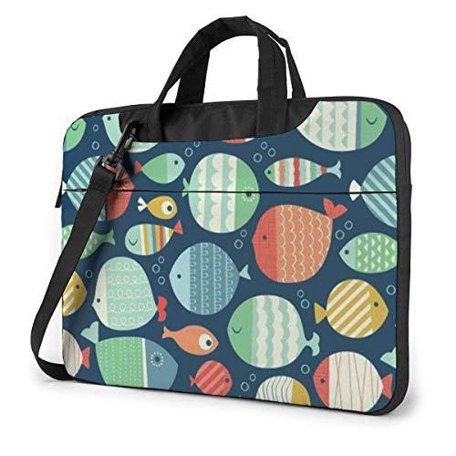 Fish Laptop Sleeve Case 14 Pulgadas Computer Tote Bag Hombro Messenger Maletín para Viajes de Negocios
