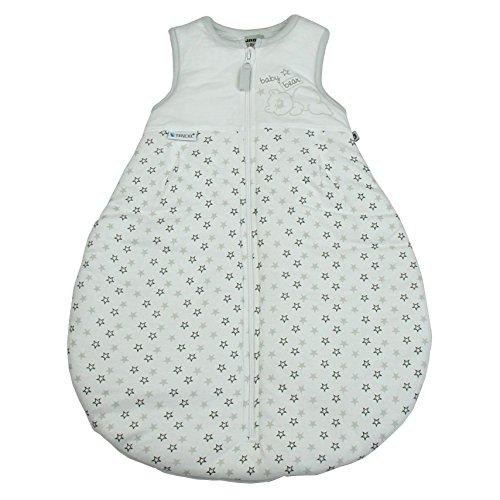 Jacky Unisex Baby Schlafsack, Ärmellos, 100% Lyocell, Alter: 6-12 Monate, Größe: 74/80, Farbe: Weiß/Teddy/Sterne, 350015