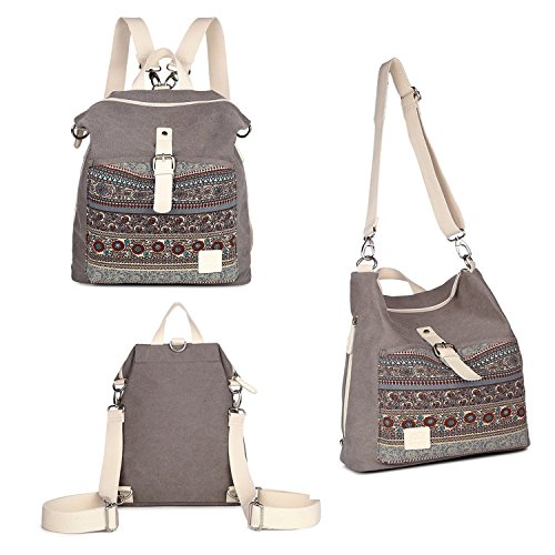 Womens Backpack Purse Canvas Purse 3-Way Crossbody Bag Boho Shoulder Tote Bags Girls Travel Daypack