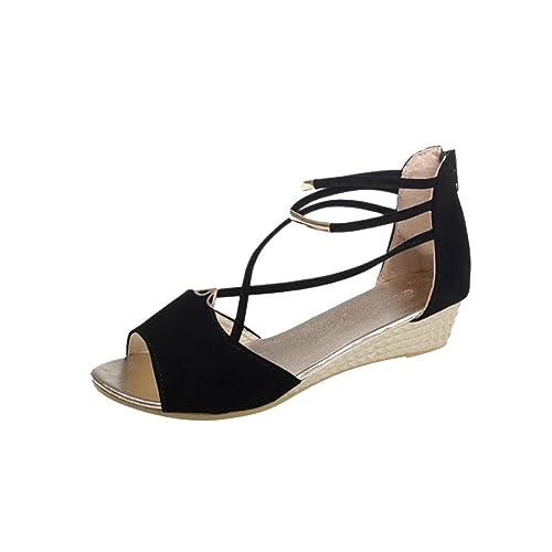 30aaeb9167 Lolittas Ladies Women Gladiator Low Heel Wedge Sandals,Black Platform  Strappy Open Toe Wide Fit