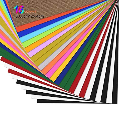 Vinilo Textil Termoadhesivo de 25 hojas - PU Vinilo Transferencia de Calor de 30.5 * 25.4cm, Hojas de Vinilo para Planchar, para Cricut y Silhouette Cameo, para Planchar en Casa en Camisetas y Telas