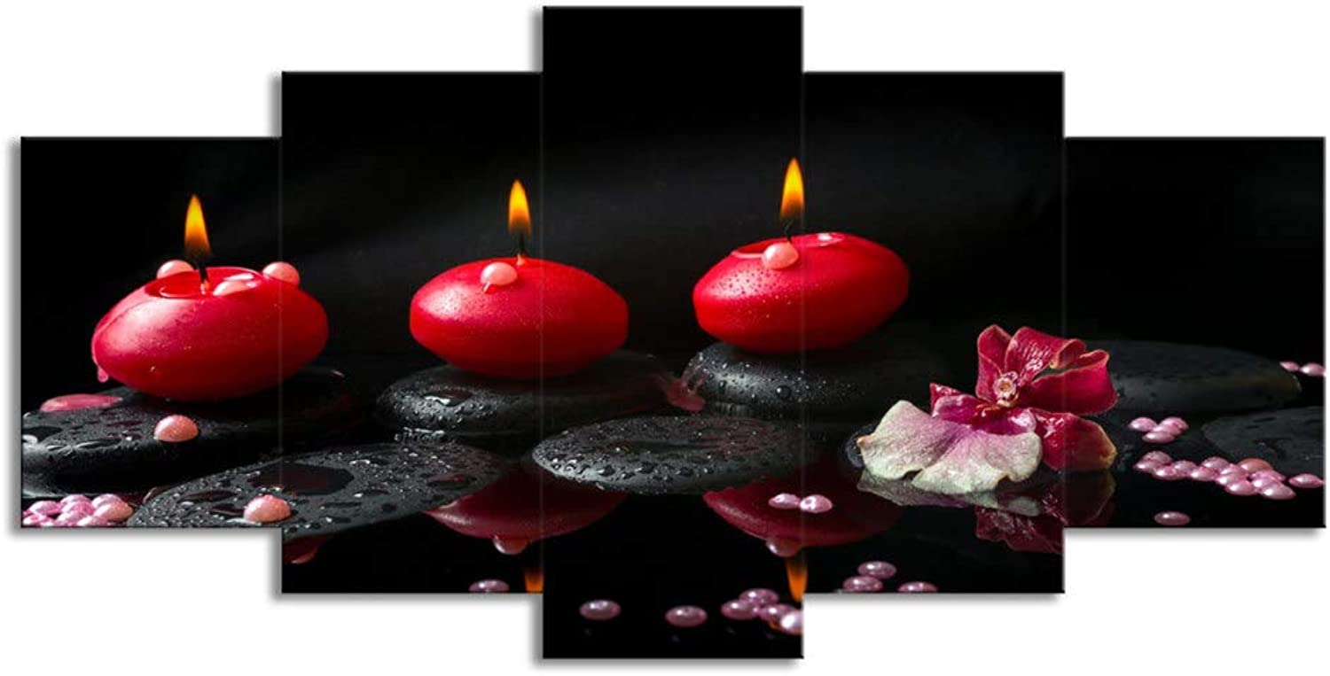 ChuangYing 5 Piece Wall Art red Candle Oil Painting Wall Sticker Canvas Print Decorative Wall Sticker