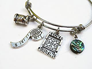Quilter Bracelet with Abalone Shell, Expandable Bangle Bracelet, Stainless Steel Bracelet, I Love Quilting Jewelry