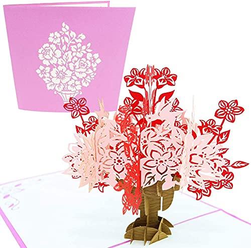 PopLife Cards Florezca el ramo y la tarjeta emergente del día de la madre del florero para todas las ocasiones - día de la madre, feliz cumpleaños, graduación, consiga bien, aniversario, compromiso