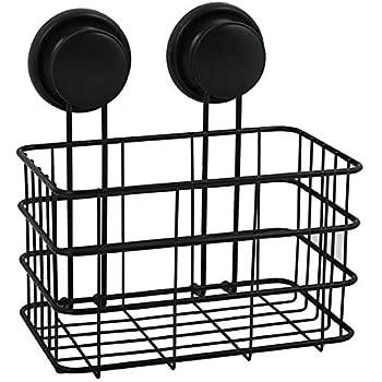 MSV Duschregal Duschkorb Badezimmer ohne Bohren mit Saugn/äpfen Stahl Verchromt 20x16x22cm