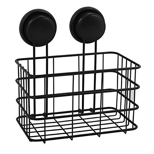 MSV Duschregal Duschkorb Badezimmer ohne Bohren mit Saugnäpfen Stahl Verchromt 20x16x22cm